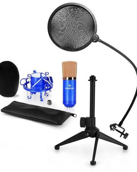 Auna Auna CM001BG mikrofónová sada V2 - kondenzátorový mikrofón, mikrofónový stojan, pop filter, modrá farba