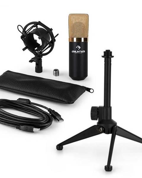 Auna Auna MIC-900BG-LED V1, USB mikrofónová sada, čierno-zlatý kondenzátorový mikrofón + stolný statív