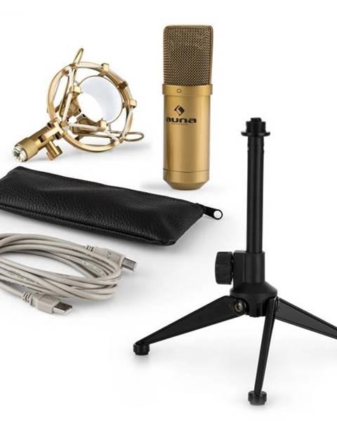 Auna Auna MIC-900G V1, USB mikrofónová sada, zlatý kondenzátorový mikrofón + stolný statív