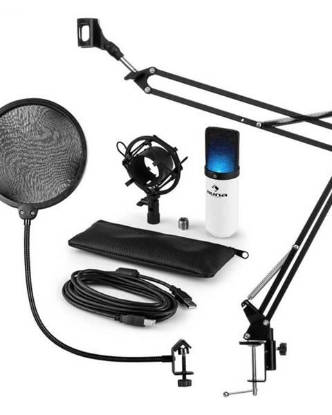 Auna Auna MIC-900WH-LED, USB mikrofónová sada V4, biela, kondenzátorový mikrofón, pop filter, mikrofónové rameno, LED