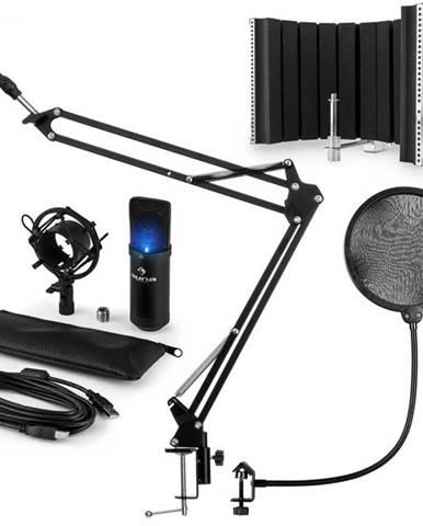 Auna MIC-900B-LED USB mikrofónová sada V5, čierna, kondenzátorový mikrofón, pop filter, akustická clona, rameno