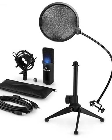 Auna MIC-900B-LED V2, trojdielna USB mikrofónová sada, kondenzátorový mikrofón + pop-filter + stolný statív