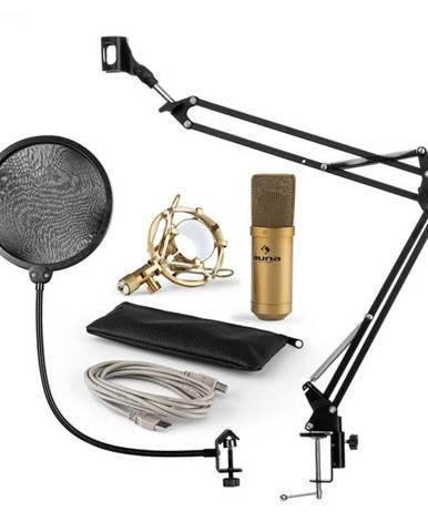Auna MIC-900G V4, mikrofónová sada, USB kondenzátorový mikrofón, rameno, pop-filter, zlatá farba