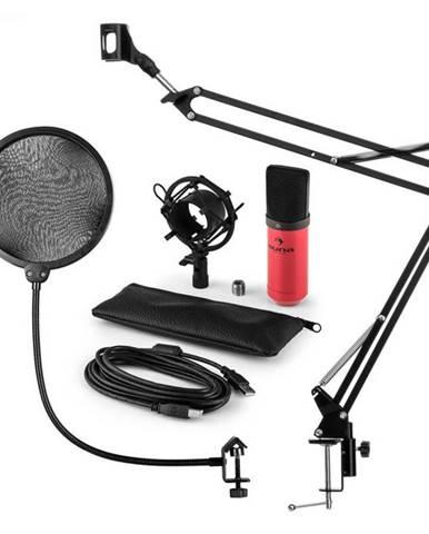 Auna MIC-900RD, USB mikrofónová sada V4, červená, kondenzátorový mikrofón, pop filter, mikrofónové rameno