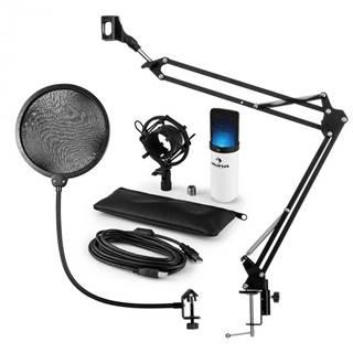 Auna MIC-900WH-LED, USB mikrofónová sada V4, biela, kondenzátorový mikrofón, pop filter, mikrofónové rameno, LED