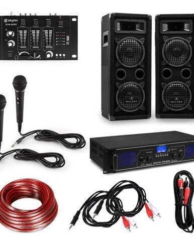 Electronic-Star eStar, HiFi DJ PA párty sada, zosilňovač, reproduktory, mixážny pult, mikrofóny, káble