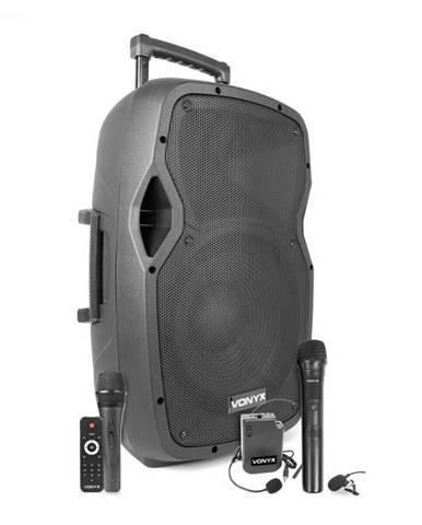 """Vonyx AP1200PA, mobilný PA systém, 12"""" woofer, 600 W, BT/USB/SD/AUX, 3 x mikrofón, akumulátor, vozík"""