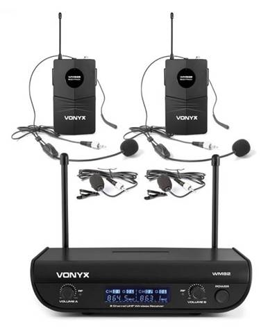 Vonyx WM82B Digital, 2-kanálový systém UHF bezdrôtových mikrofónov, 2 x headset mikrofón, 50 m, kufor