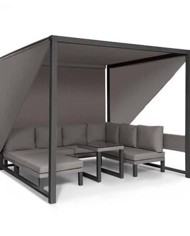 Blumfeldt Havana, pavilón & Lounge-Set, 270x230x270cm, 4 dvojsedadlá, sivý