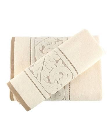 Set krémovobieleho bavlneného uteráka a osušky Sultan Cream