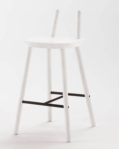 Biela barová stolička z masívu EMKO Naïve