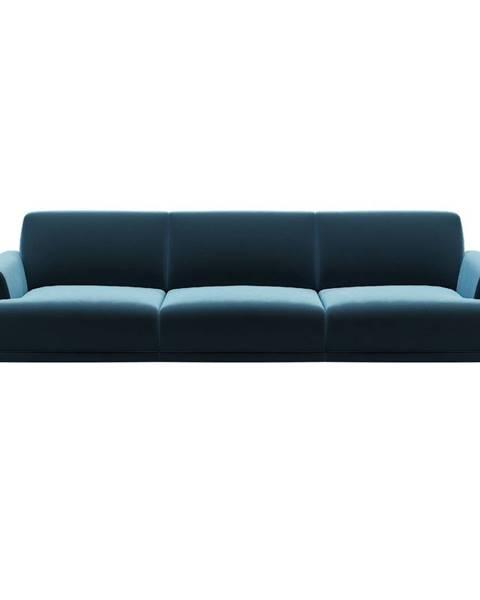 MESONICA Modrá zamatová pohovka MESONICA Puzzo, 240 cm
