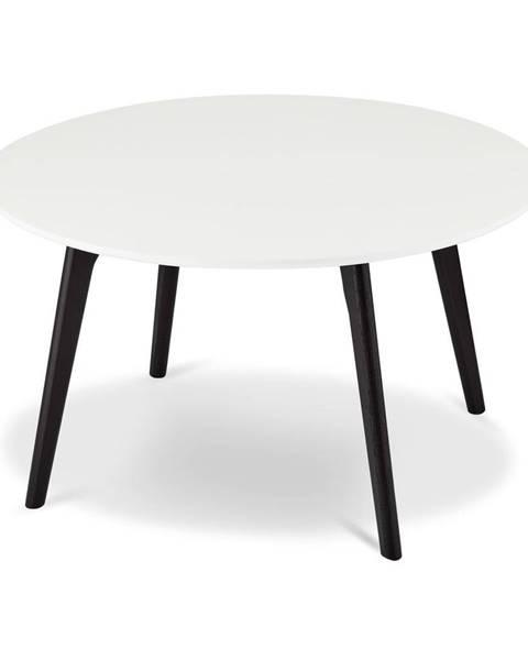 Furnhouse Čierno-biely konferenčný stolík s nohami z dubového dreva FurnhoLife, Ø 80 cm