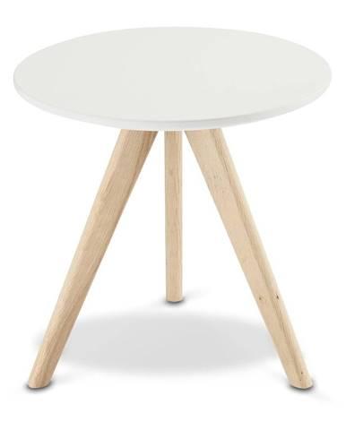 Biely konferenčný stolík s nohami z dubového dreva FurnhoLife, Ø 40 cm