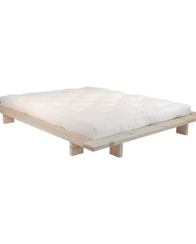 Dvojlôžková posteľ z borovicového dreva s matracom Karup Design Japan Comfort Mat Raw/Natural, 160 × 200 cm