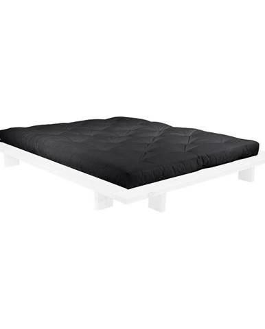 Dvojlôžková posteľ z borovicového dreva s matracom Karup Design Japan Comfort Mat White/Black, 140 × 200 cm