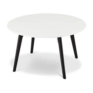 Čierno-biely konferenčný stolík s nohami z dubového dreva FurnhoLife, Ø 80 cm