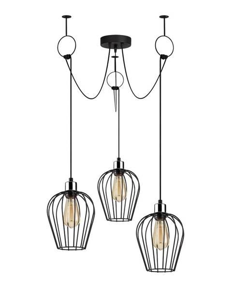 Opviq lights Čierne závesné svietidlo pre 3 žiarovky Opviq lights Tel Chain