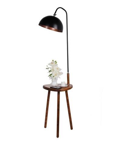 Čierna stojacia lampa s odkladacím stolíkom Opviq lights