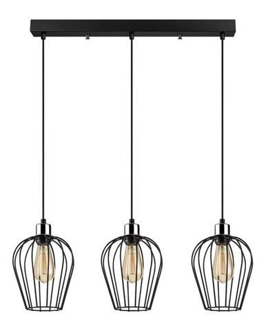 Čierne závesné svietidlo pre 3 žiarovky Opviq lights Tel Long
