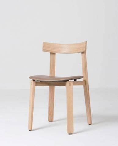 Jedálenská stolička z masívneho dubového dreva s hnedým sedadlom Gazzda Nora