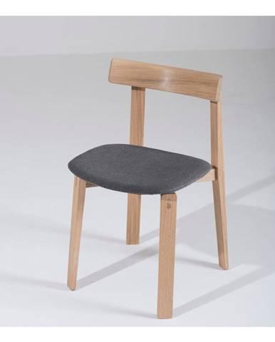Jedálenská stolička z masívneho dubového dreva s tmavosivým sedadlom Gazzda Nora