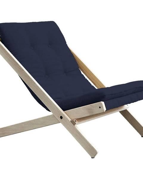 Karup Design Tmavomodré skladacie kreslo z bukového dreva Karup Design Boogie Raw/Navy