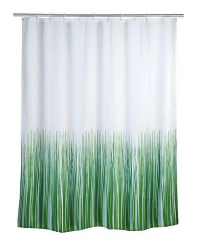 Zeleno-biely sprchový záves Wenko Nature, 180 x 200 cm