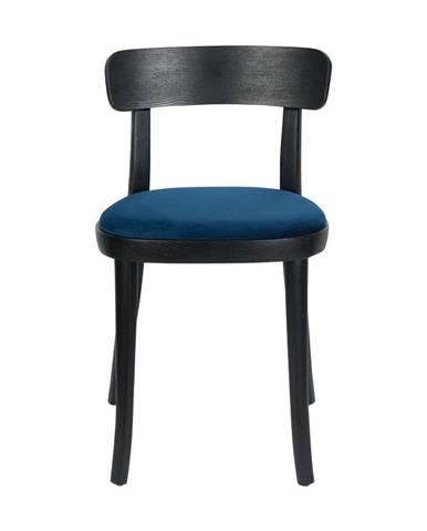 Súprava 2 čiernych jedálenských stoličiek s modrým sedákom Dutchbone Brandon