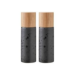 Súprava 2 čiernych kameninových mlynčekov na soľ a korenie Bitz Basics Black