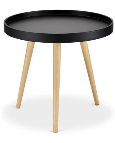 Čierny konferenčný stolík s nohami z bukového dreva FurnhoOpus, Ø 50 cm