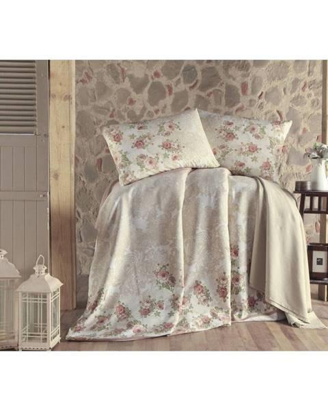 Eponj Home Béžová ľahká bavlnená prikrývka na jednolôžko Flow, 140×200 cm