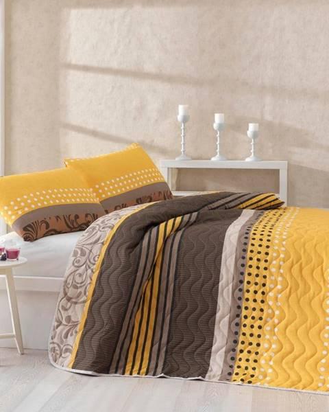 Bonami Set plédu cez posteľ a obliečky na vankúš s prímesou bavlny Miranda Yellow, 160 x 220 cm