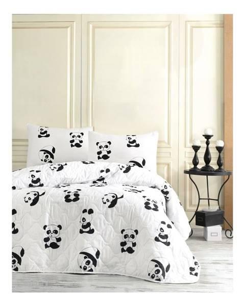 EnLora Home Set prehozu a 2 obliečok na vankúše EnLora Home Panda, 200 x 220 cm