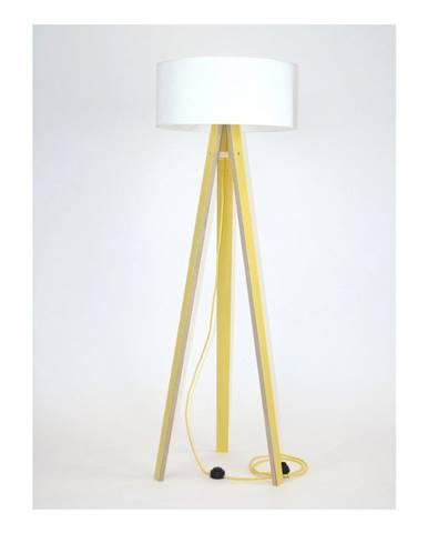 Žltá stojacia lampa s bielym tienidloma žltým káblom Ragaba Wanda