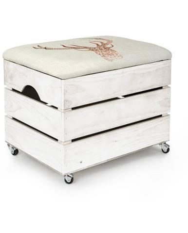 Biely úložný box so sedadlom Really Nice Things Deer, 50×35 cm
