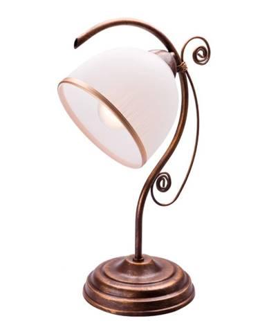 Bielo-hnedá stolová lampa Lamkur
