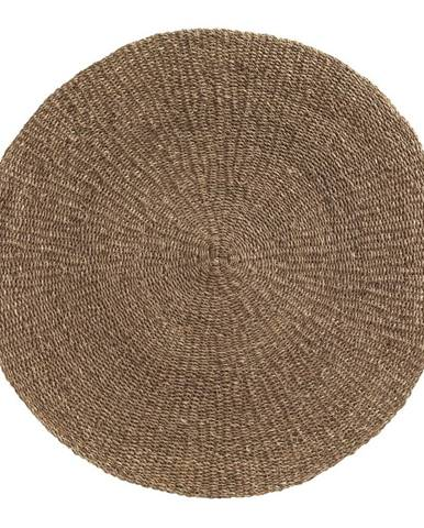 Hnedý koberec z morských rias Geese Rustico Natura, ⌀ 150 cm