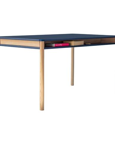 Tmavomodrý jedálenský stôl z dubového dreva Ragaba Zeen