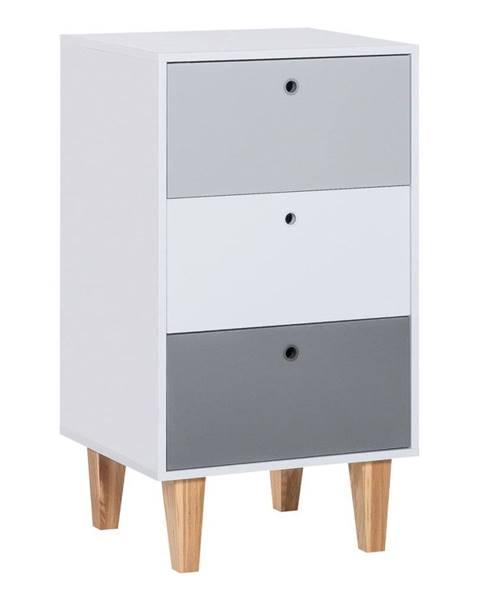 Vox Sivá komoda s policami z dubového dreva Vox Concept, 53,5 × 96,5 cm