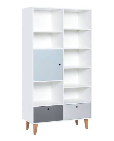 Knižnica s modrými dvierkami z dubového dreva Vox Concept, 105x201,5cm