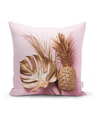 Obliečka na vankúš Minimalist Cushion Covers Golden Ananás and Leafes, 45x45cm