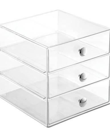 Transparentný úložný box s 3 zásuvkami iDesign Drawers, výška 16,5 cm