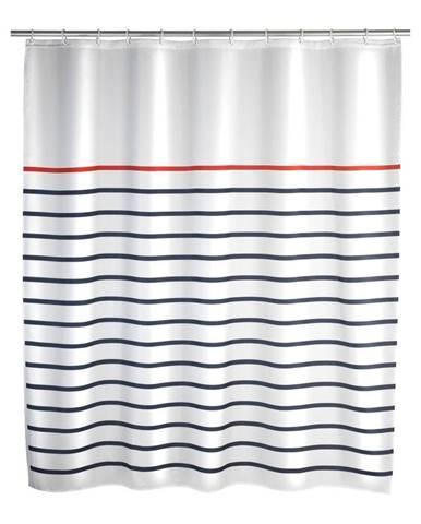 Bielo-modrý sprchový záves Wenko Marine