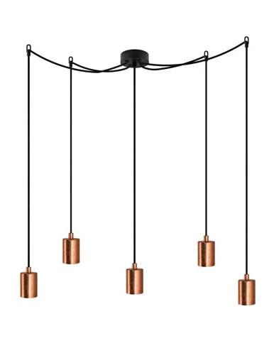 Čierne päťramenné závesné svietidlo s detailmi v medenej farbe Bulb Attack Cero