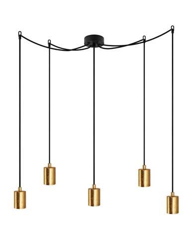 Čierne päťramenné závesné svietidlo s detailmi v zlatej farbe Bulb Attack Cero