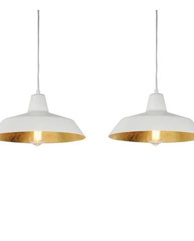 Biele dvojramenné závesné svietidlo s detailmi v zlatej farbe Bulb Attack Cinco