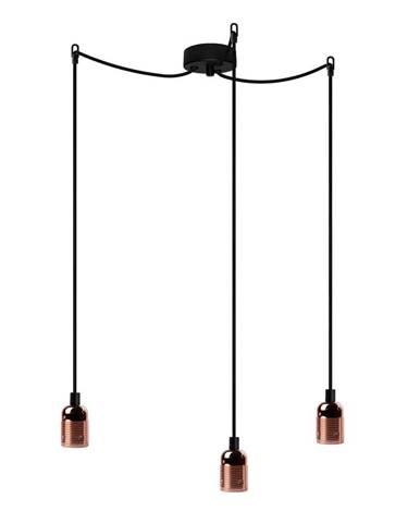 Čierne trojramenné závesné svietidlo s detailmi v medenej farbe Bulb Attack Uno Basic