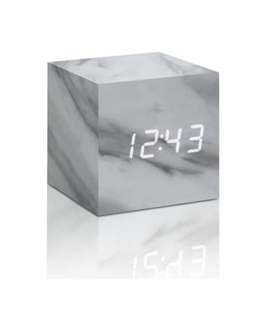 Sivý budík v mramorovom dekore s bielym LED displejom Gingko Cube Click Clock
