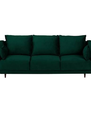 Tmavo zelená zamatová rozkladacia pohovka s úložným priestorom Mazzini Sofas Freesia, 215 cm